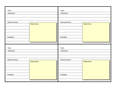 how to make vocabulary flash cards 8 best images of printable blank vocabulary cards