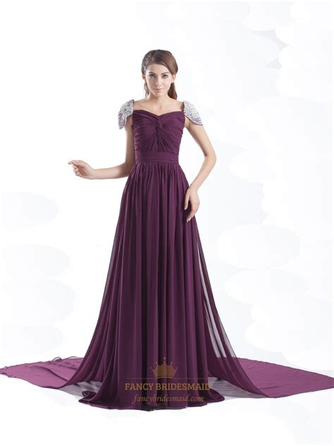beaded chiffon bridesmaid dresses grape chiffon beaded cap sleeves pleated prom dress with