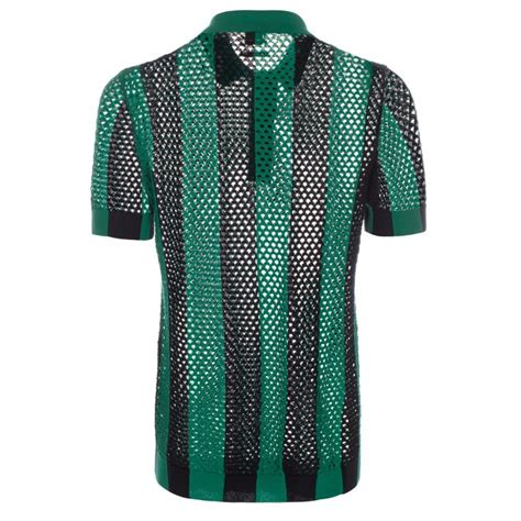 knitted shirt paul smith s green and black open knit polo shirt in