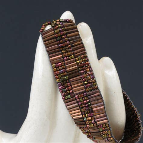 seed bead loom handmade loom beaded vintage bugle and seed bead bracelet