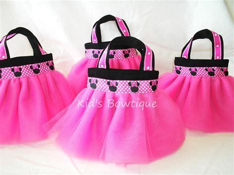 Set of 4 Minnie Mouse Themed Party Favor Tutu Bags