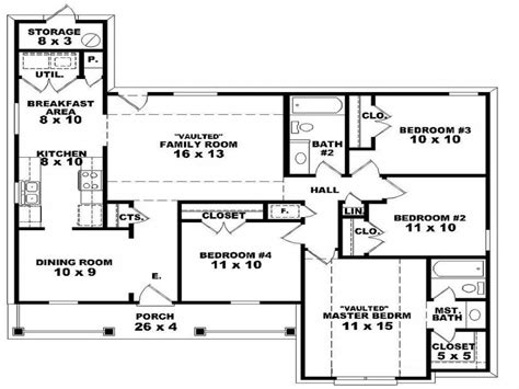 one story house plans with 4 bedrooms 4 bedroom single story house plans