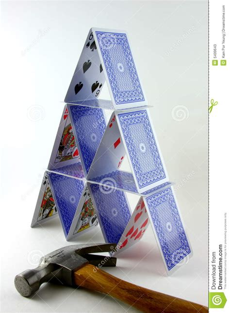 how to make a card tower tower of cards with hammer stock image image of concept