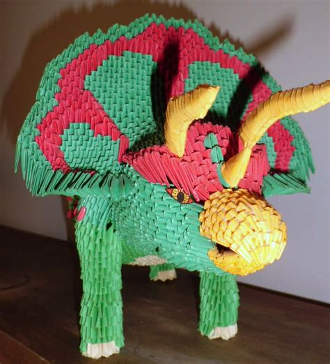 best 3d origami 3d origami triceratops 1 by dfoosdc on deviantart