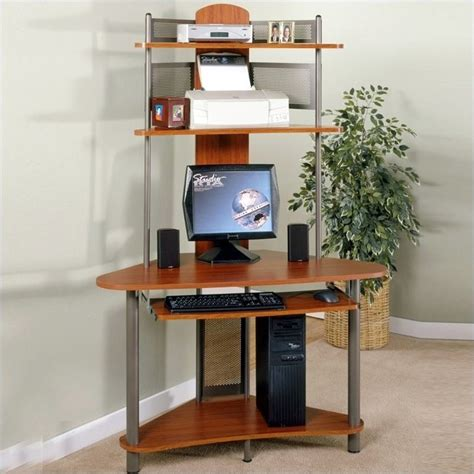 tower computer desk studio rta a tower corner wood computer desk with hutch in