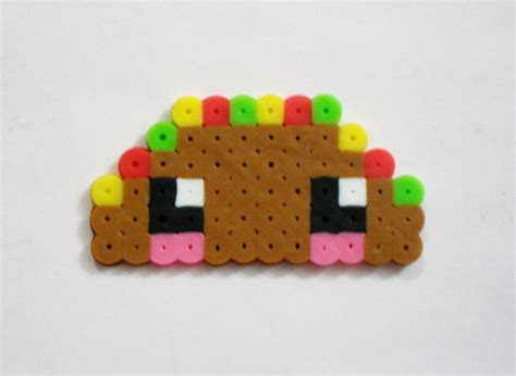 food perler taco kawaii food perler bead ideas actually