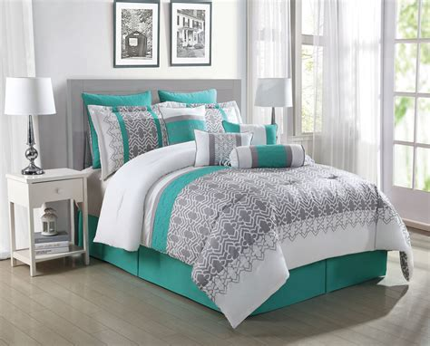 teal comforters sets 10 teal gray white reversible comforter set