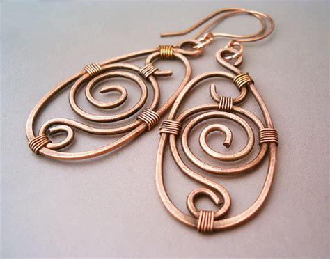 earrings with wire wire wrapped earrings looking copper by gearsfactory