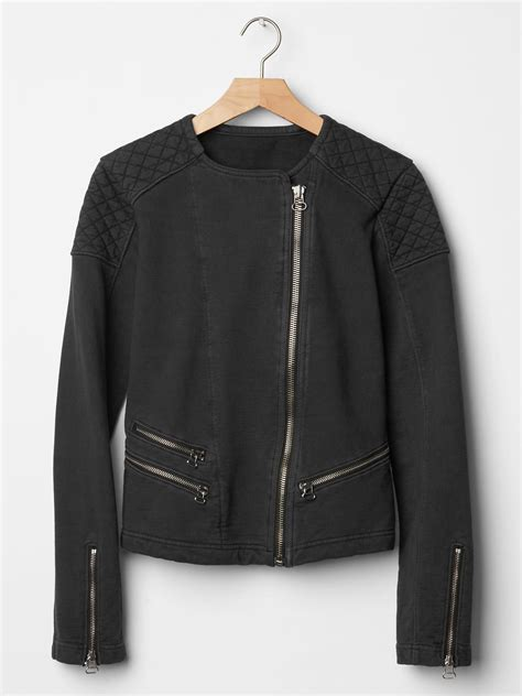 moto knit jacket gap quilted moto knit jacket in black soft black lyst