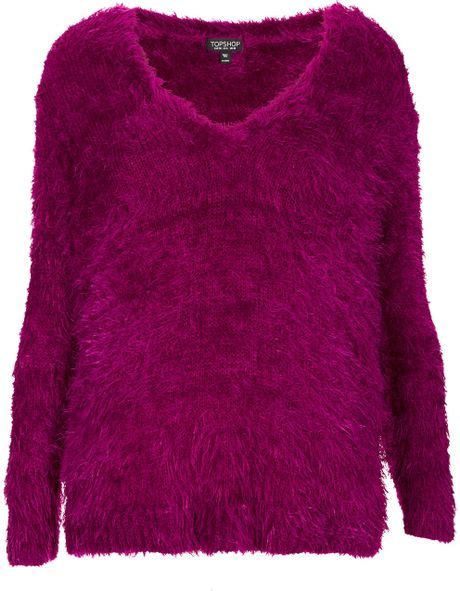 purple knitted jumper topshop knitted fluffy v neck jumper in purple lyst
