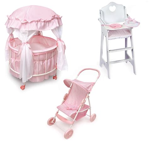 baby doll high chair and crib badger basket royal pavilion doll crib furniture set by oj