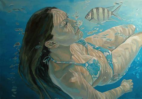 acrylic painting underwater underwater portrait by milosmilos on deviantart