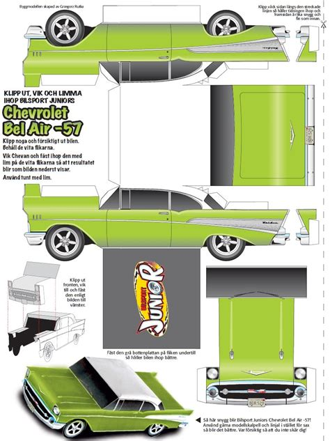 paper craft cars chevrolet bel air car paper