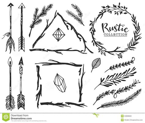 rustic decorative elements with arrow and lettering stock
