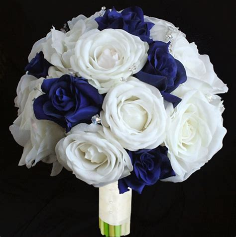 Calla Lily Home Decor natural touch open off white and blue roses bouquet