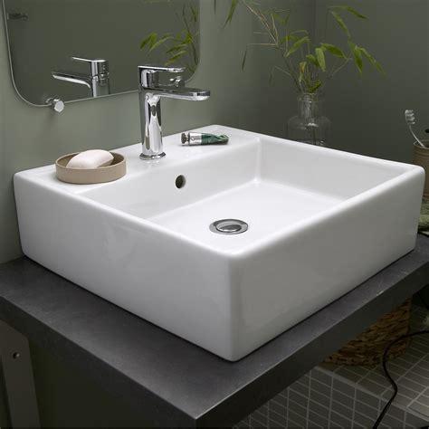 vasque 224 poser c 233 ramique l 46 x p 46 cm blanc edge leroy merlin