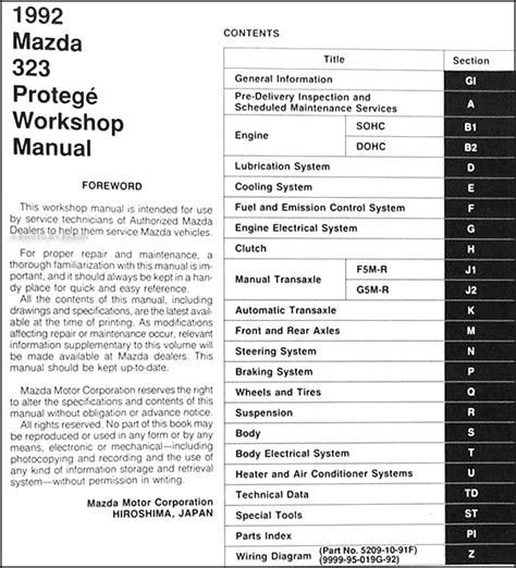 1995 mazda 323 protege repair shop manual original 1992 mazda 323 protege repair shop manual original