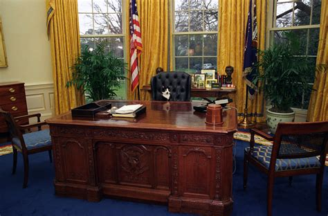 the oval office desk photograph of socks the cat sitting the president s