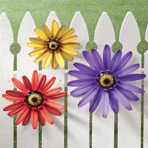 outdoor metal flowers garden patio fence decor wall