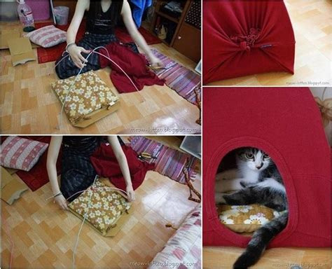 t shirt craft projects reuse t shirts to make cat tents diy alldaychic