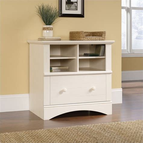 white file cabinet wood sauder harbor view 1 drawer lateral wood file antique white filing cabinet ebay