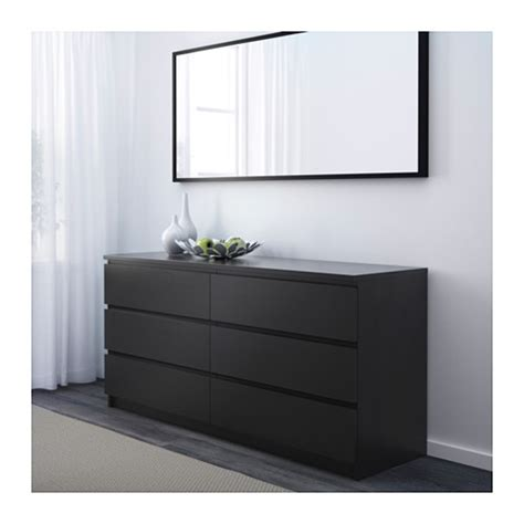 malm chest of 6 drawers black brown 160x78 cm ikea