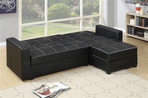 black sectional sofa bed poundex amala f7894 black leather sectional sofa bed