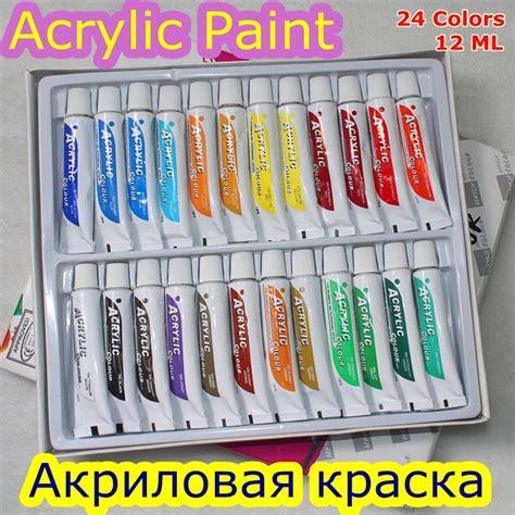 acrylic paint water resistant 24 colors 12ml acrylic paint set color nail glass