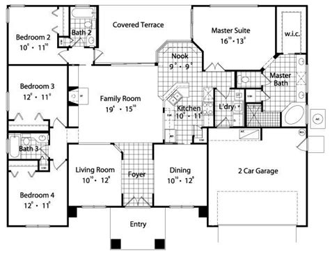 4 bedroom 4 bath house plans four bedroom house plans withal 2089 sqaure 4 bedrooms 3 bathrooms 2 garage spaces 62 width