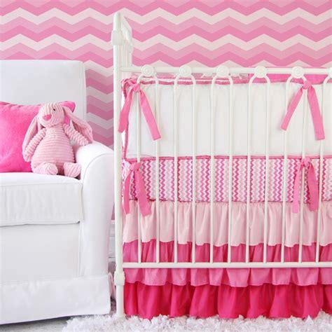 zig zag crib bedding set girly zig zag ruffle crib bedding set by caden