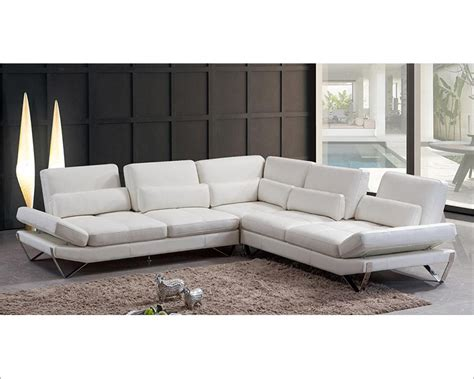 sectional sofas modern modern snow white leather sectional sofa 44l5985