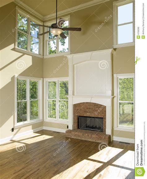 home design story room size two story living room with fireplace stock photo image