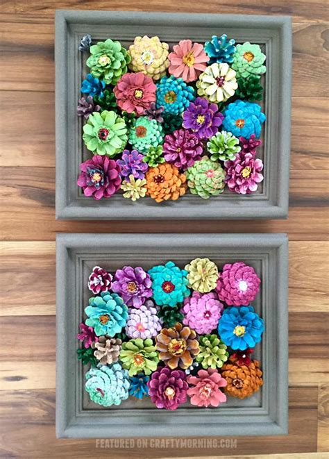 pine cone crafts to sell framed flower decor made from pine cones crafty morning