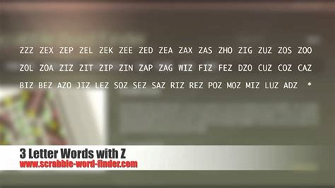3 letter scrabble words with z scrabble words with z