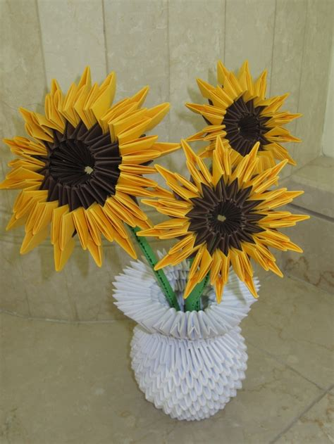 origami sunflower step by step s 3d origami sunflowers origami paper