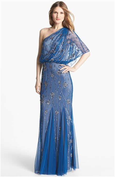 blue beaded gown papell beaded one shoulder gown in blue lapis