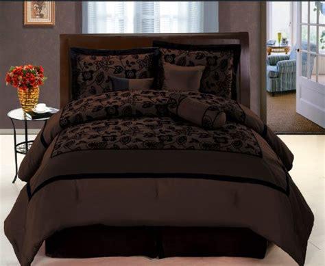 black and brown comforter sets 7 pc modern black choco brown flock satin comforter set
