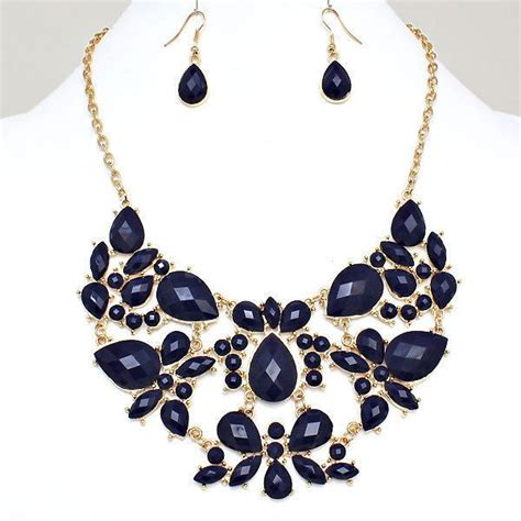 how to make costume jewelry navy blue gold tone bib statement costume jewelry