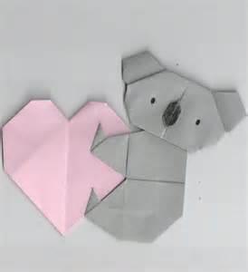 how to make a origami koala origami of koala holding a gift ideas