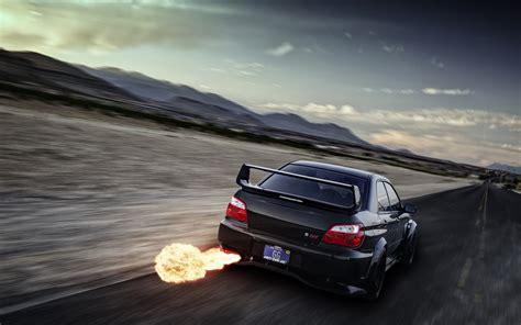 Car Exhaust Wallpaper by Subaru Impreza Wrx Sti Tuning Flames Exhaust