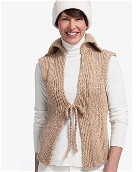 easy knit vest for beginners tie front knit vest favecrafts