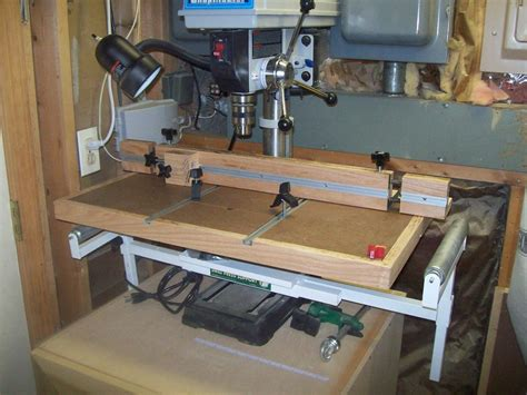 woodworking drill press table shop improvements 2 drill press table by jim savage