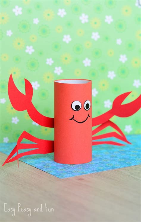 paper crafts for teenagers paper roll crab craft easy peasy and