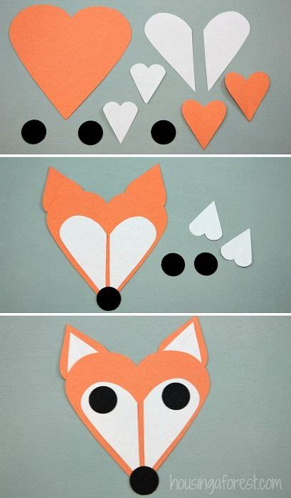 drawing crafts for fox craft fox made of shapes