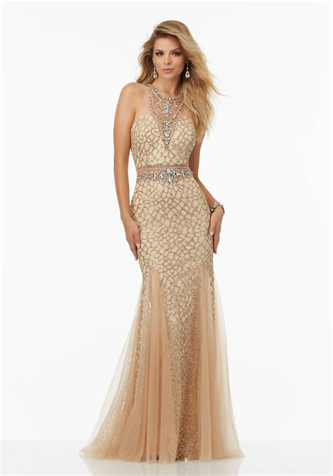 Fully Beaded Prom Dress Featuring Caviar Beading Style