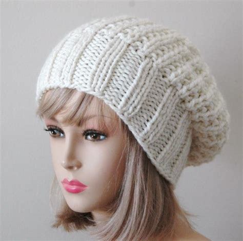 knit beanie pattern slouchy beanie hat in neutral knit reversible