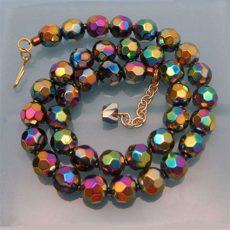 glass bead jewelry vintage chunky faceted carnival glass necklace gold