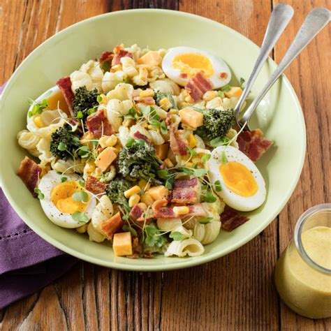 egg pasta salad with curry mayo dressing