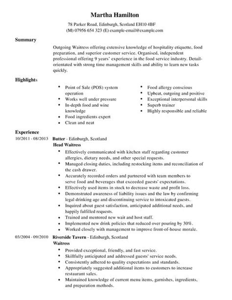 waitress cv example for restaurant bar livecareer
