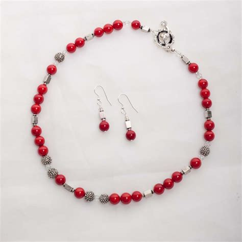 coral bead earrings scarlet coral earrings with silver plated bead
